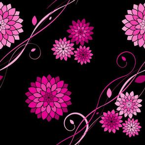 Dahlia Flowers Black Pink