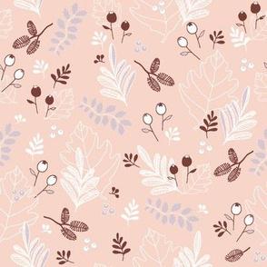 Snowberries & Little Cones - coral