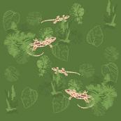 Lizards Hunting Green