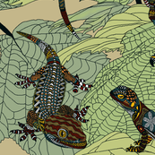 Luverly_zentangled_painted_lizards_on_painted_leaves