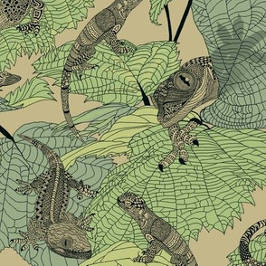 Luverly_zentangled_lizards_on_painted_leaves