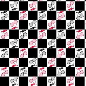 Cherry Hearts Checker Black White Red