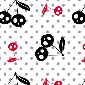 Dots with Cherry Skulls White Red Black