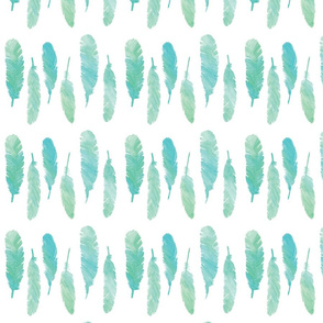 Watercolor Feathers in Turquoise