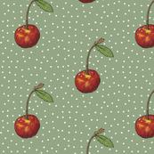 Cherry on Sage Polka Dots