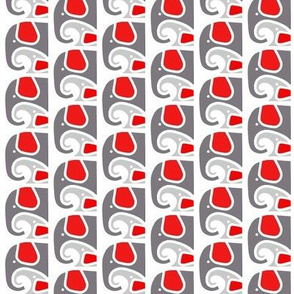 Elephant Baby Love Gray Red