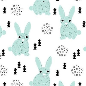 Adorable geometric rabbit baby easter spring bunny for kids scandinavian woodland theme in mint