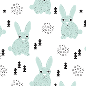 Adorable geometric rabbit baby bunny for kids scandinavian woodland theme in mint