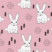 Adorable geometric rabbit baby bunny for kids scandinavian woodland theme in pink