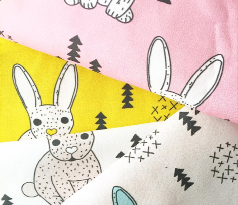 Adorable geometric rabbit baby easter spring bunny for kids scandinavian woodland theme in mustard