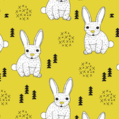 Adorable geometric rabbit baby bunny for kids scandinavian woodland theme in mustard