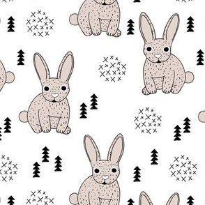 Adorable geometric rabbit baby easter spring bunny for kids scandinavian woodland theme in soft beige and white