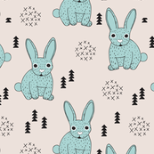 Adorable geometric rabbit baby bunny for kids scandinavian woodland theme in mint blue and beige