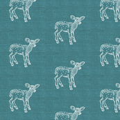Dear Deer, Teal Linen