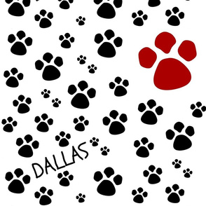 Paw Prints  LG - red black-personalized