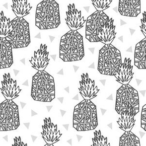 Pineapples - (smaller scale) Grey by Andrea Lauren