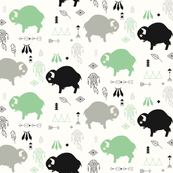 Cute buffaloes and native American symbols