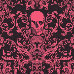 Dread Damask in Garish Pink