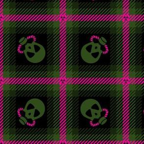 Biohazard Gas Mask Plaid 230 Pink Olive Black