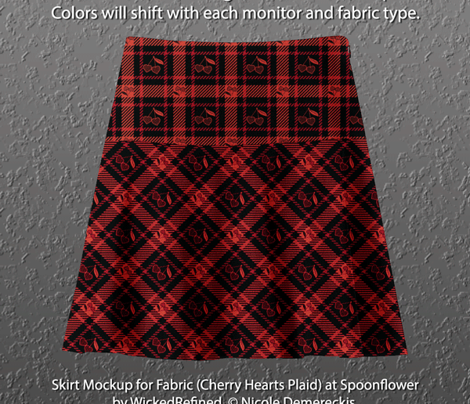 Cherry Hearts Plaid 113 Red Black