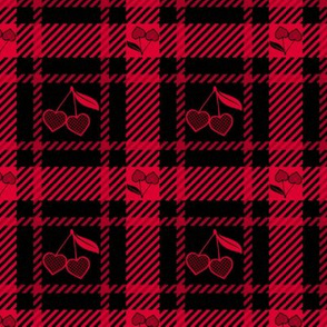 Cherry Hearts Plaid 113 Red Black