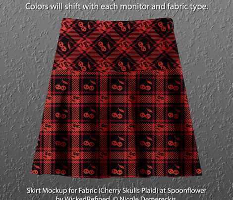 Cherry Skulls Plaid 112 Black Red