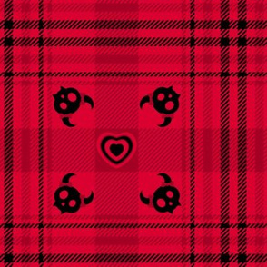 Evil But Cute Plaid 110 Red Black