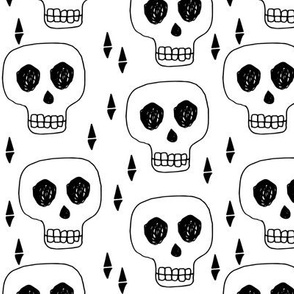 Skull - White Black by Andrea Lauren