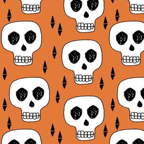 Skull - Orange by Andrea Lauren