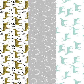 Deer Quilt - (Mint, Wisteria, Golden Olive, Slate) Wholecloth Cheater Quilt - by Andrea Lauren