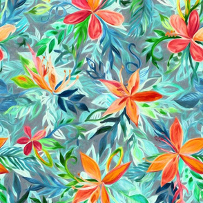 Impressionist Painted Tropical Floral