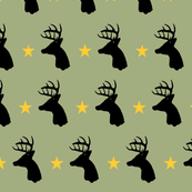 Whitetail deer head with stars