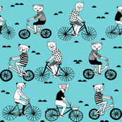 Bears on Bicycles - Aqua by Andrea Lauren