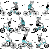 Bears on Bicycles - Aqua on White by Andrea Lauren