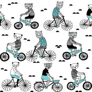 bears on bikes // cute childrens illustration bicycles bear bikes childrens illustration fabric