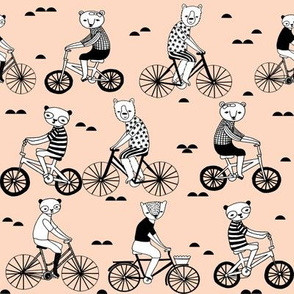 bears on bikes // cute blush childrens illustration bicycles fabric cute childrens illustration design