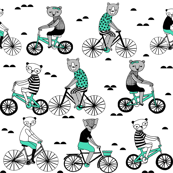 Bears on Bicycles - Light Jade and Slate Grey on White by Andrea Lauren