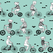Bears on Bicycles - Pale Turquoise by Andrea Lauren