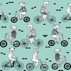 bears on bikes // childrens illustration fabric by andrea lauren cute andrea lauren design bears on bicycles panda bear