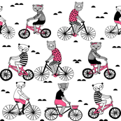 Bears on Bicycles - Pink and Slate Grey on White by Andrea Lauren