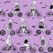 Bears on Bicycles - Wisteria(Lilac) by Andrea Lauren