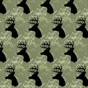 Whitetail deer head on camo