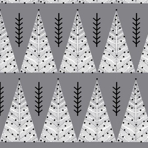 Evergreen Christmas Tree - White on Grey by Andrea Lauren