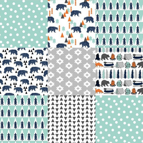 Camping Quilt Squares - Wholecloth Cheater Quilt for boys - Navy, Mint, Grey by Andrea Lauren