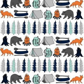 Woodland Camping - Navy, Mint, Grey by Andrea Lauren