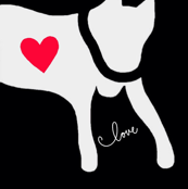 Big Love Dog Cat White Black Red