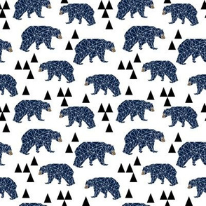 geo bear // navy blue triangles bear geometric boys nursery popular trendy kids hipster kids fabric