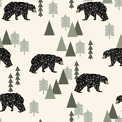Camping Forest Bear - Rustic - Cream, Sage by Andrea Lauren