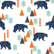 Camping Forest Bear - Small - Navy, Mint, by Andrea Lauren