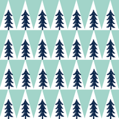 Camping Trees - Navy, Mint (Small) by Andrea Lauren